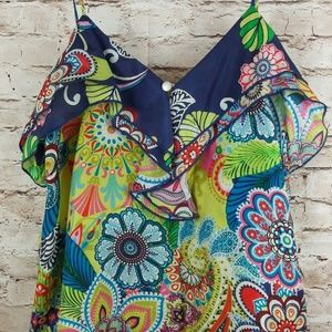 GLAM 100% SILK Bright Multi Color Paisley Large